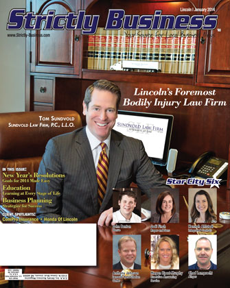 strictly business magazine cover january 2014 sundvold law firm lincoln nebraska