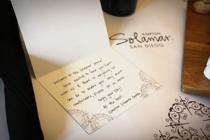 Destination San Diego - Kimpton Solomar Hotel - Welcome Note