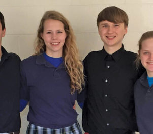 Tom Fulton, Kathleen Medill, Taylor Gierhan, and Natalie Schieuer - Pius X